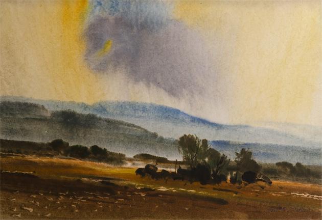 Ján KUCHTA - Krajina (2009), Technika: akvarel, Rozmery: 45x66 cm