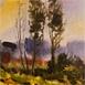 Autor: Ján KUCHTA, Názov diela: Krajinka, Technika: akvarel, Motív: krajina, architektúra, Rozmery: 18x18 cm, Rok: 2009