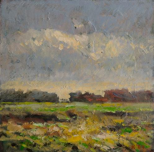 Ján KUCHTA - Krajinka (2009), Technika: olej, Rozmery: 27,5x27,5 cm