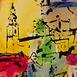 Autor: Stanislav HARANGOZÓ, Názov diela: Májové ráno, Technika: kombinovaná technika, Motív: krajina, architektúra, Rozmery: 22x14 cm, Rok: 2012