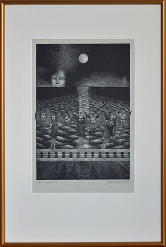 Naďa RAPPENSBER- GEROVÁ - JANKOVIČOVÁ, Ak. maliar - Noc tropická IV (2011), Technika: litografia, Rozmery: 32x22 cm