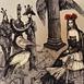 Autor: Katarína VAVROVÁ, Akademická maliarka, Názov diela: Traja králi, Technika: ručne kolorovaný lept, Motív: figurálne, akty, Rozmery: 11x12,5 cm, Rok: 2012