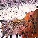 Autor: PaedDr. Jaro UHEL ArtD., Názov diela: Páskovaná krajina, Technika: olej - akryl na plátne, Motív: abstraktné, Rozmery: 99x99 cm, Rok: 1994