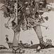 Autor: Dušan POLAKOVIČ, Akademický maliar, Názov diela: Potulné divadlo, Technika: lept, Motív: krajina, architektúra, Rozmery: 55x49 cm, Rok: 1993