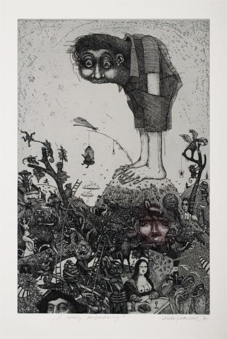 Dušan POLAKOVIČ, Akademický maliar - Z vtáčej perspektívy (1997), Technika: lept, Rozmery: 49x32 cm