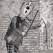 Autor: Dušan POLAKOVIČ, Akademický maliar, Názov diela: His Master's Voice, Technika: lept, Motív: figurálne, akty, Rozmery: 20x15 cm, Rok: 1995
