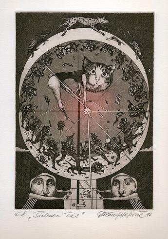 Dušan POLAKOVIČ, Akademický maliar - Šialenec čas (1996), Technika: lept, Rozmery: 20x15 cm