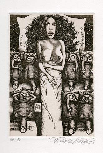 Dušan POLAKOVIČ, Akademický maliar - Ex Libris - T.Ostermann (2009), Technika: lept, Rozmery: 15x10,5 cm