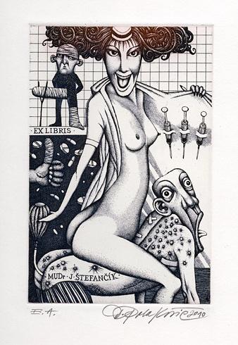 Dušan POLAKOVIČ, Akademický maliar - Ex Libris - J.Štefančík (2010), Technika: lept, Rozmery: 14,5x14,5 cm