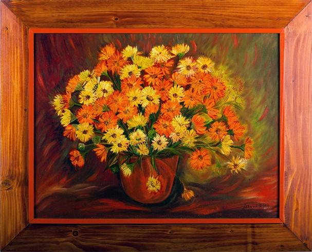 Štefánia KLENOVIČOVÁ - Kvety z našej záhrady (2011), Technika: olej, Rozmery: 45x60 cm