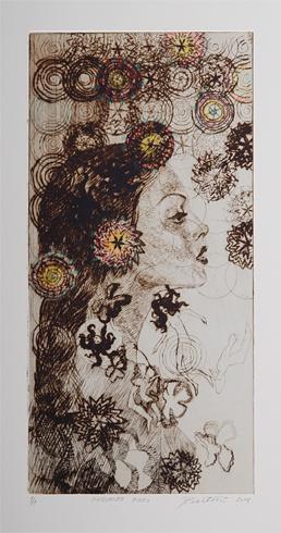 Júlia PIAČKOVÁ, Akademická maliarka - Cinquanta Fiori (2011), Technika: suchá ihla, mezotinta, Rozmery: 28x14 cm