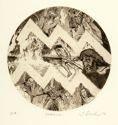 Igor PIAČKA, Akademický maliar - Charon (2006), Technika: suchá ihla, mezotinta, Rozmery: 15x15 cm