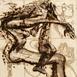 Autor: Igor PIAČKA, Akademický maliar, Name of work: Môj miláčik, Technique: suchá ihla, mezotinta, Motif: figured, nudes, Size: 16,5x11 cm, Year: 2005