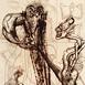 Autor: Igor PIAČKA, Akademický maliar, Názov diela: Ego, Technika: suchá ihla, mezotinta, Motív: figurálne, akty, Rozmery: 16,5x11 cm, Rok: 1999