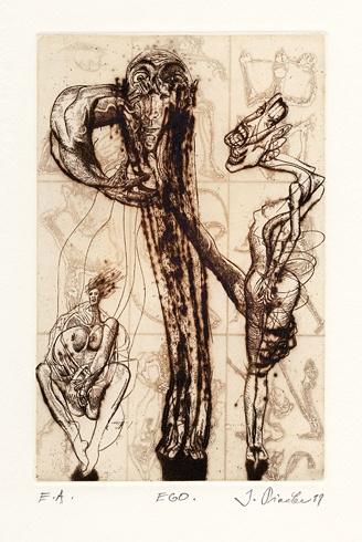 Igor PIAČKA, Akademický maliar - Ego (1999), Technika: suchá ihla, mezotinta, Rozmery: 16,5x11 cm
