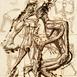 Autor: Igor PIAČKA, Akademický maliar, Názov diela: Pokušenie, Technika: suchá ihla, mezotinta, Motív: figurálne, akty, Rozmery: 16,5x11 cm, Rok: 0