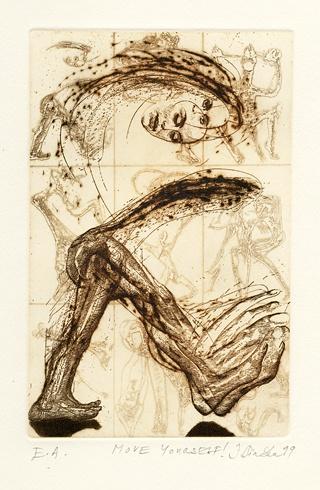 Igor PIAČKA, Akademický maliar - Move yourself (1999), Technika: suchá ihla, mezotinta, Rozmery: 16,5x11 cm