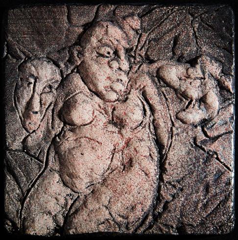 Vlado ORAVEC, akademický sochár - Jesenné sny II (2012), Technika: kamenina, Rozmery: 10x10 cm