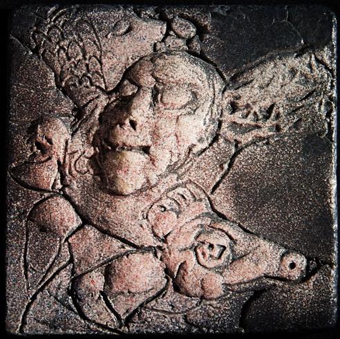 Vlado ORAVEC, akademický sochár - Jesenné sny III (2012), Technika: kamenina, Rozmery: 10x10 cm