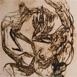 Autor: Igor PIAČKA, Akademický maliar, Názov diela: Tarzan, Technika: suchá ihla, mezotinta, Motív: figurálne, akty, Rozmery: 29,5x24,5 cm, Rok: 1992
