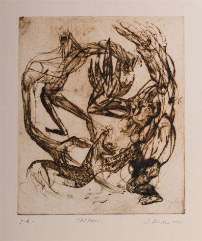 Igor PIAČKA, Akademický maliar - Tarzan (1992), Technika: suchá ihla, mezotinta, Rozmery: 29,5x24,5 cm