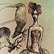 Autor: Katarína VAVROVÁ, Akademická maliarka, Názov diela: Zvláštny sen o soboch, Technika: ručne kolorovaný lept, Motív: figurálne, akty, Rozmery: 15x10 cm, Rok: 2013