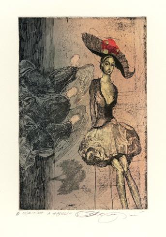 Katarína VAVROVÁ, Akademická maliarka - Hermína a anjeli (2013), Technika: ručne kolorovaný lept, Rozmery: 14,5x9,5 cm