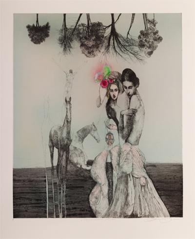 Katarína VAVROVÁ, Akademická maliarka - Nanebevstúpenie stromov (2013), Technika: ručne kolorovaný lept, Rozmery: 59x50 cm