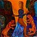 Autor: Daniela KRAJČOVÁ, Ak. maliarka, Name of work: Krotiteľka gepardov, Technique: maľba na skle, Motif: figured, nudes, Size: 50x38 cm, Year: 2013
