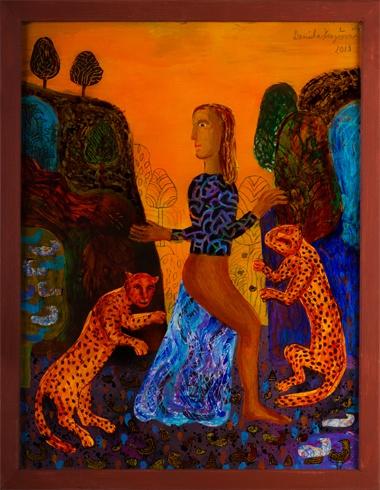 Daniela KRAJČOVÁ, Ak. maliarka - Krotiteľka gepardov (2013), Technique: maľba na skle, Size: 50x38 cm