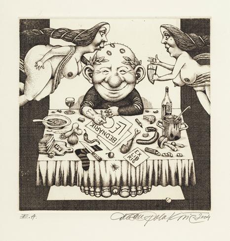 Dušan POLAKOVIČ, Akademický maliar - Ex Libris - Leo Bednárik (2004), Technika: lept, mezotinta, Rozmery: 14,5x14,5 cm