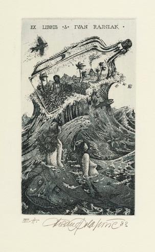 Dušan POLAKOVIČ, Akademický maliar - Ex Libris - Ivan Rajniak (1983), Technique: lept, mezotinta, Size: 14,5x9 cm