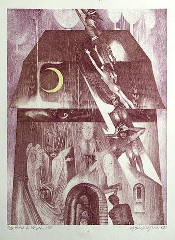 Naďa RAPPENSBER- GEROVÁ - JANKOVIČOVÁ, Ak. maliar - Príbeh zo zámku XVIII (1999), Technika: farebná litografia nerám, Rozmery: 34x25 cm