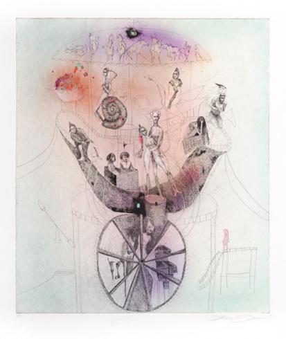 Katarína VAVROVÁ, Akademická maliarka - Veľké koleso (2014), Technique: ručne kolorovaný lept, Size: 49x42