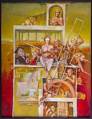 Ján KOVÁLIK - Boží mlyn (2007), Technique: olej, Size: 79x61