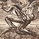 Autor: Igor PIAČKA, Akademický maliar, Názov diela: Autor a inšpirácia, Technika: kombinácia technik, Motív: figurálne, akty, Rozmery: 12x12 cm, Rok: 1997