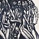 Autor: Igor PIAČKA, Akademický maliar, Názov diela: Bosorky, Technika: kombinácia technik, Motív: figurálne, akty, Rozmery: 8x8 cm, Rok: 1997