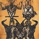 Autor: Igor PIAČKA, Akademický maliar, Názov diela: Europa 2000, Technika: kombinácia technik, Motív: figurálne, akty, Rozmery: 18x13 cm, Rok: 2000