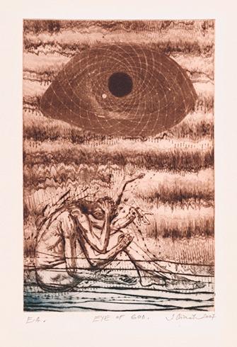 Igor PIAČKA, Akademický maliar - Eye of god (2007), Technika: kombinácia technik, Rozmery: 18x12 cm