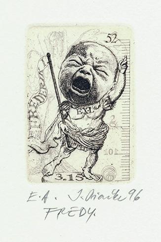 Igor PIAČKA, Akademický maliar - Fredy (1996), Technika: kombinácia technik, Rozmery: 6x4 cm