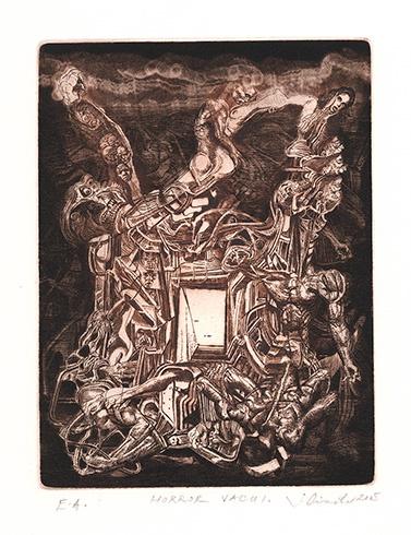 Igor PIAČKA, Akademický maliar - Horror vacui (2005), Technika: kombinácia technik, Rozmery: 19x14,5 cm