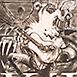 Autor: Igor PIAČKA, Akademický maliar, Názov diela: Kráľ a klaun, Technika: kombinácia technik, Motív: figurálne, akty, Rozmery: 19,5x14,5 cm, Rok: 2004