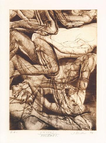 Igor PIAČKA, Akademický maliar - Lovers (1994), Technika: kombinácia technik, Rozmery: 22x15,5 cm