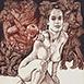Autor: Igor PIAČKA, Akademický maliar, Názov diela: Pokušenie, Technika: kombinácia technik, Motív: figurálne, akty, Rozmery: 18x13 cm, Rok: 2010