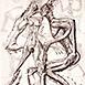 Autor: Igor PIAČKA, Akademický maliar, Názov diela: Príťažlivosť, Technika: kombinácia technik, Motív: figurálne, akty, Rozmery: 16,5x11 cm, Rok: 2005