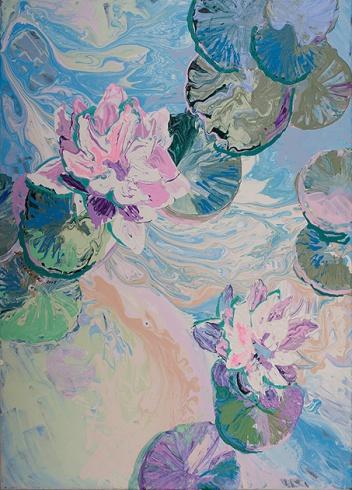 Júlia PIAČKOVÁ, Akademická maliarka - Hra s Monetom I (2013), Technika: akryl, Rozmery: 70x50 cm