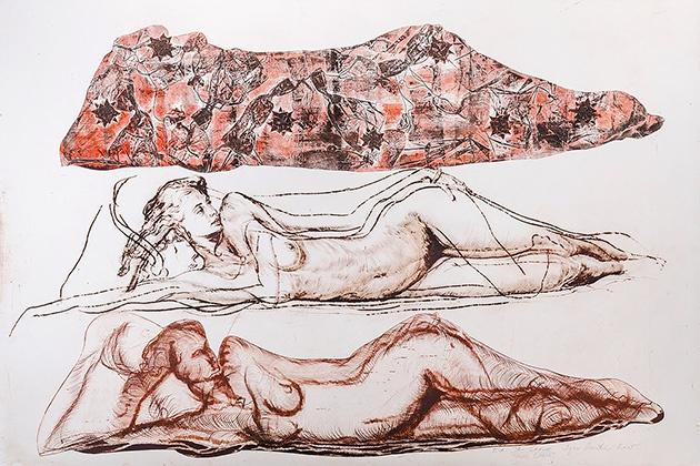 Igor PIAČKA, Akademický maliar - Tri grácie (2005), Technika: kombinovaná technika, Rozmery: 66x99 cm