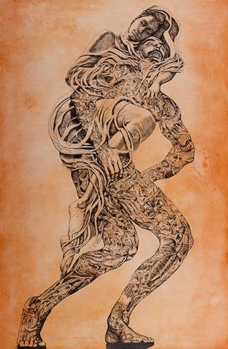 Igor PIAČKA, Akademický maliar - Kríza stredného veku (2010), Technika: kombinácia grafických techník, Rozmery: 99x65 cm