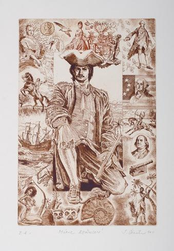 Igor PIAČKA, Akademický maliar - Móric Beňovský (2011), Technique: kombinácia grafických techník, Size: 30x20 cm