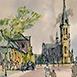 Autor: Jozef KAMINSKÝ, Názov diela: Bratislava Floriánske námestie, Technika: kolorovaná grafika, Motív: krajina, architektúra, Rozmery: 12x18 cm, Rok: 2013